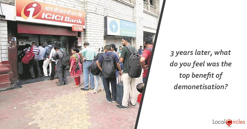 Reducing Black Money: 3 years later, what do you feel was the top benefit of demonetisation?
