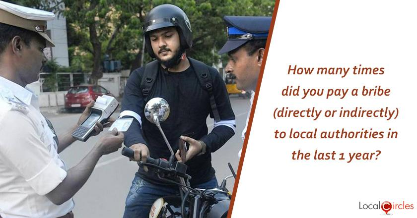 Corruption in Tamil Nadu: How many times did you pay a bribe (directly or indirectly) to local authorities in the last 1 year?
