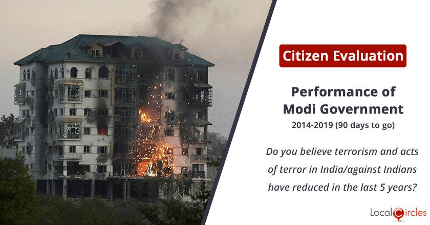 Terrorism under Modi Government: Do you believe terrorism and acts of terror in India/against Indians have reduced in the last 5 years?