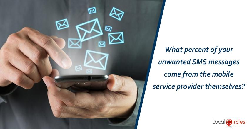 What percent of your unwanted SMS messages come from the mobile service provider themselves?