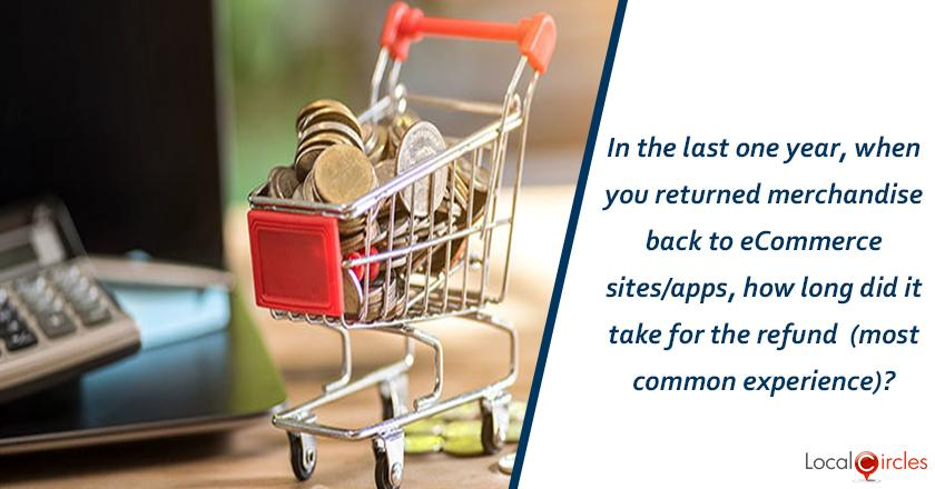 Returns and Refunds in eCommerce: In the last one year, when you returned merchandise back to eCommerce sites/apps, how long does it take for the refund (most common experience)?