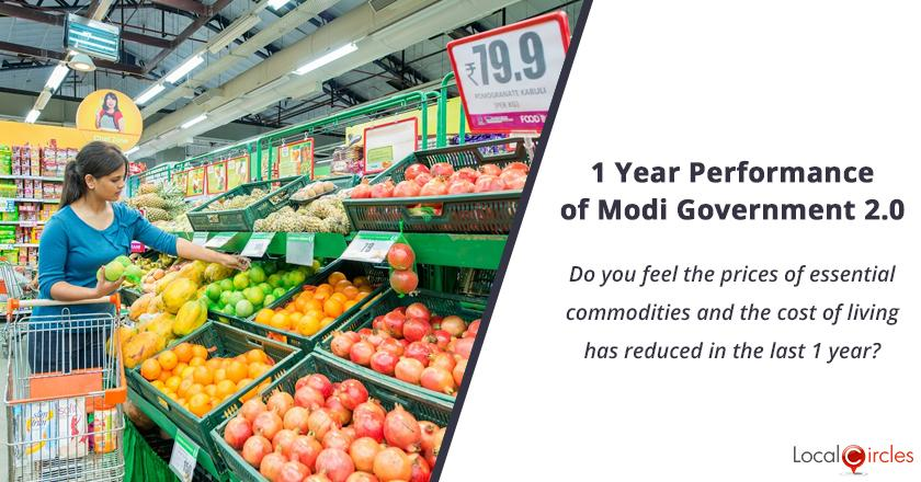 1 Year Performance of Modi Government 2.0: Do you feel the prices of essential commodities and the cost of living has reduced in the last 1 year?