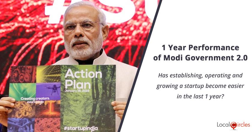 1 Year Performance of Modi Government 2.0: Has establishing, operating and growing a startup become easier in the last 1 year?