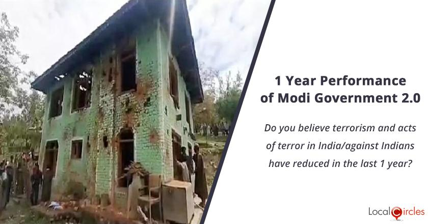 1 Year Performance of Modi Government 2.0: Do you believe terrorism and acts of terror in India/against Indians have reduced in the last 1 year?