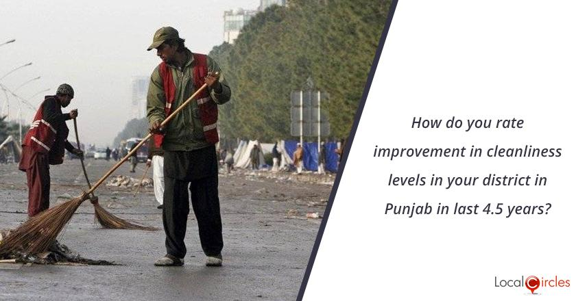 How do you rate improvement in cleanliness levels in your district in Punjab in last 4.5 years?