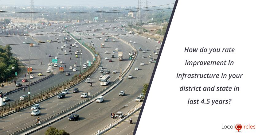 How do you rate improvement in infrastructure in your district and state in last 4.5 years? <br/> <br/>Kindly consider key parameters as new infrastructure like metro, roads, highways, etc.