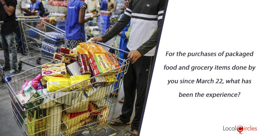 For the purchases of packaged food and grocery items done by you since March 22, what has been the experience?
