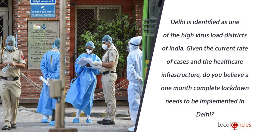 Delhi is identified as one of the high virus load districts of India. Given the current rate of cases and the healthcare infrastructure, do you believe a one month complete lockdown needs to be implemented in Delhi?