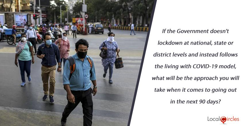 If the Government doesn't lockdown at national, state or district levels and instead follows the living with COVID-19 model, what will be the approach you will take when it comes to going out in the next 90 days?