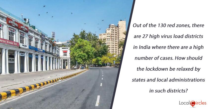 Out of the 130 red zones, there are 27 high virus load districts in India where there are a high number of cases. How should the lockdown be relaxed by states and local administrations in such districts?