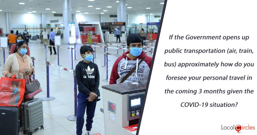 If the Government opens up public transportation (air, train, bus) approximately how do you foresee your personal travel in the coming 3 months given the COVID-19 situation?