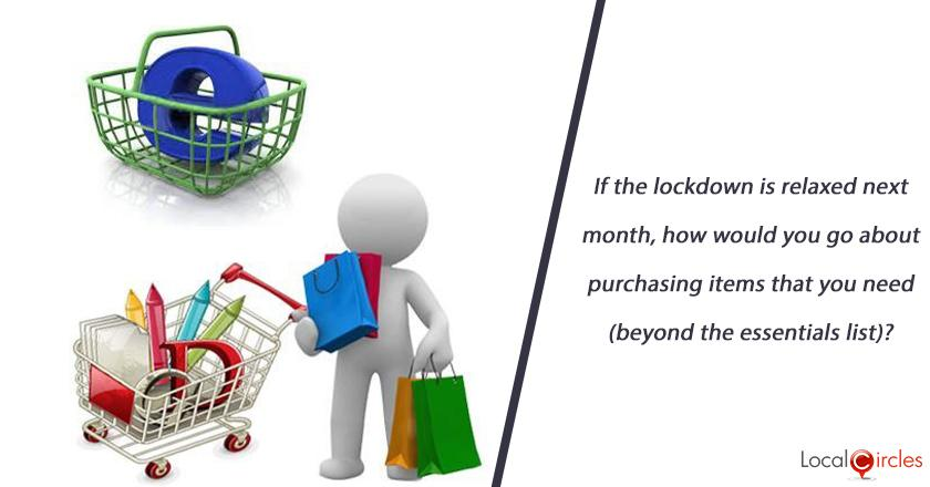 If the lockdown is relaxed next month, how would you go about purchasing items that you need (beyond the essentials list)?