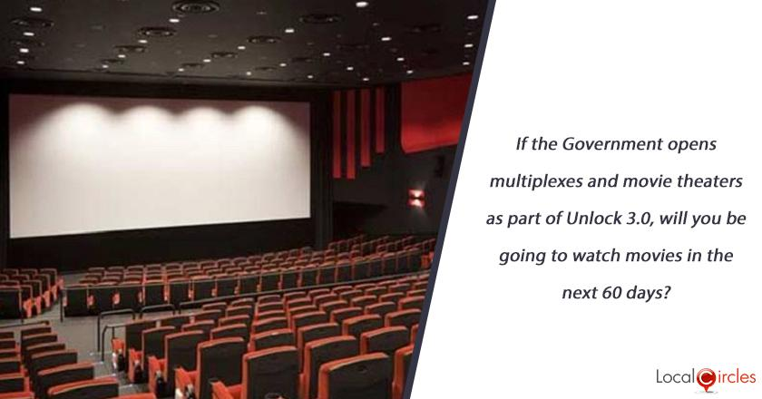 If the Government opens multiplexes and movie theaters as part of Unlock 3.0, will you be going to watch movies in the next 60 days?