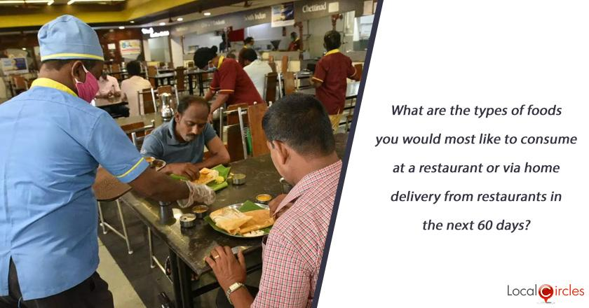 What are the types of foods you would most like to consume at a restaurant or via home delivery from restaurants in the next 60 days?