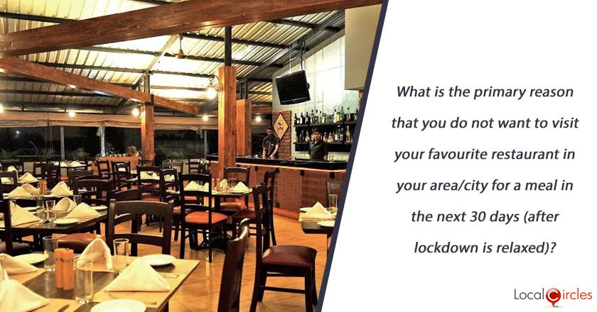 What is the primary reason that you do not want to visit our favourite restaurant in your area/city for a meal in the next 30 days (after lockdown is relaxed)?
