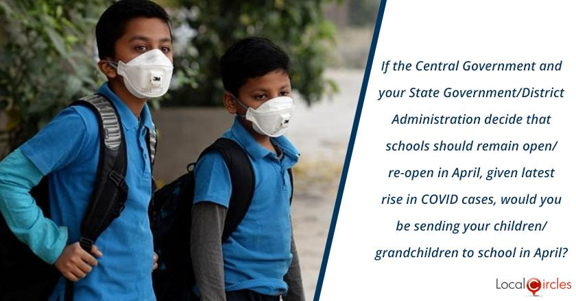 If the Central Government and your State Government/District Administration decide that schools should remain open/re-open in April, given latest rise in COVID cases, would you be sending your children/grandchildren to school in April?