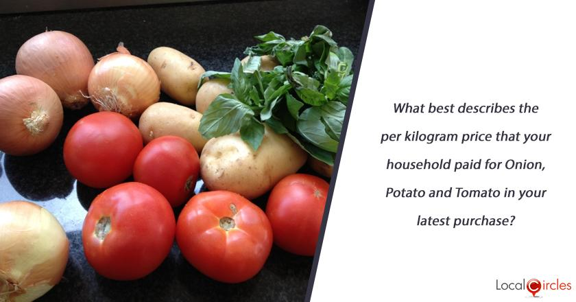What best describes the per kilogram price that your household paid for Onion, Potato and Tomato in your latest purchase?