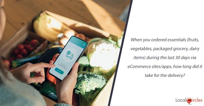 When you ordered essentials (fruits, vegetables, packaged grocery, dairy items) during the last 30 days via eCommerce sites/apps, how long did it take for the delivery?
