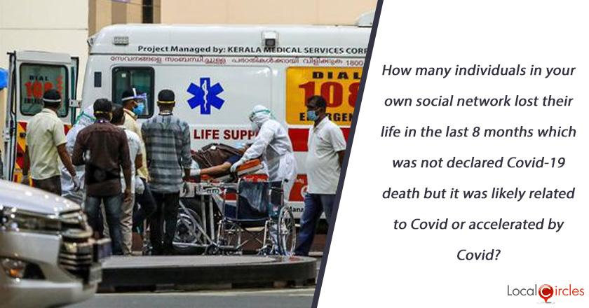 How many individuals in your own social network (family, extended family, friends, colleagues, neighbours, business associates, etc.) lost their life in the last 10 months which was not declared Covid-19 death but it was likely related to Covid or accelerated by Covid?