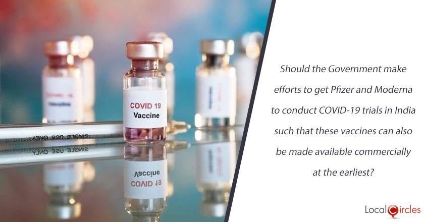 Should the Government of India make efforts to get Pfizer and Moderna to conduct COVID-19 trials in India such that these vaccines can also be made available commercially at the earliest in parallel to the ones being produced by Cadilla, Serum and Bharat Biotech? <br/> <br/>P.S. Pfizer vaccine has been cleared by UK Government and both Pfizer and Moderna have sought Emergency Use Authorisation from US Government.