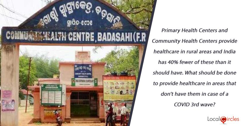 Primary Health Centers and Community Health Centers provide healthcare in rural areas and India has 40% fewer of these than it should have. What should be done to provide healthcare in areas that don't have them in case of a COVID 3rd wave?