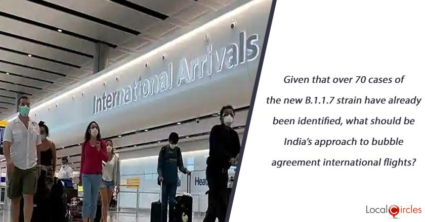 Given that over 70 cases of the new B.1.1.7 strain have already been identified, what should be India's approach to bubble agreement international flights?