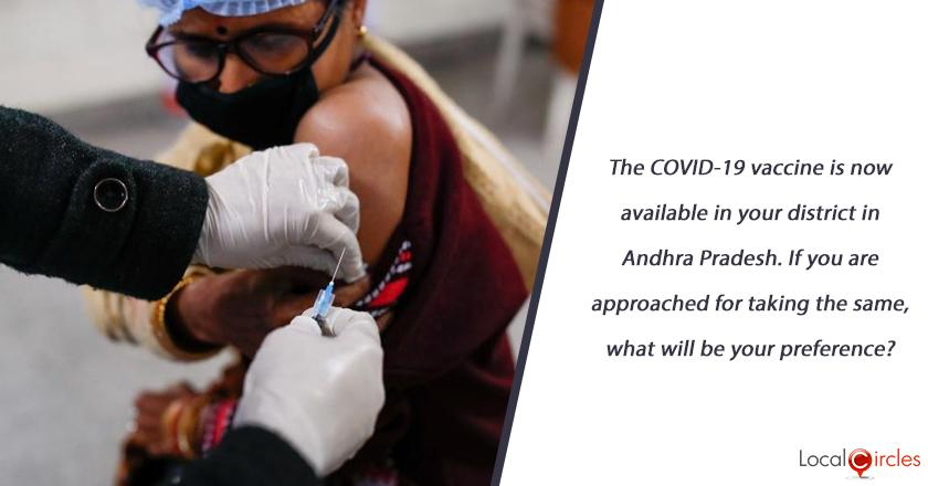 The COVID-19 vaccine is now available in your district in Andhra Pradesh. If you are approached for taking the same, what will be your preference?