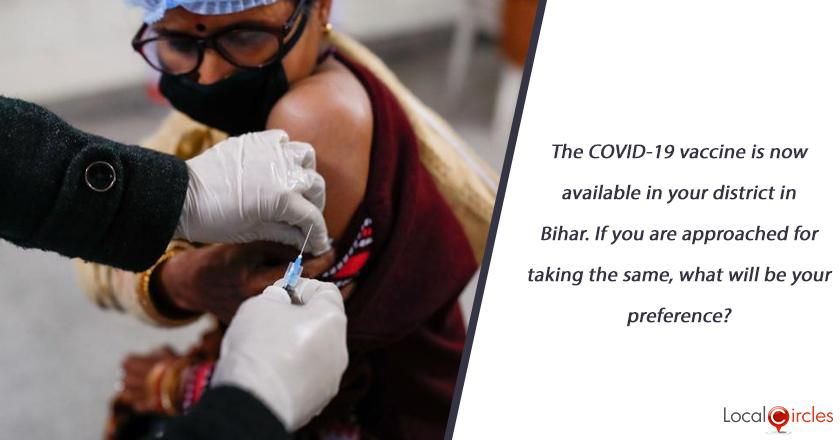 The COVID-19 vaccine is now available in your district in Bihar. If you are approached for taking the same, what will be your preference?