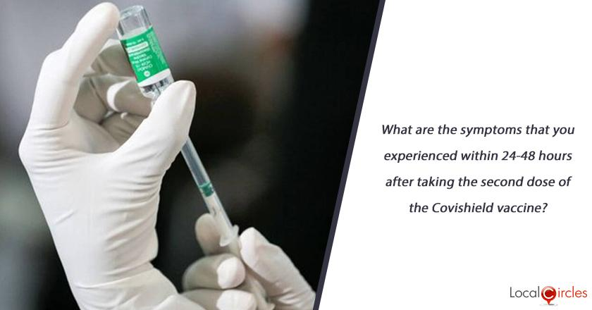 What are the symptoms that you experienced within 24-48 hours after taking the second dose of the Covishield vaccine?