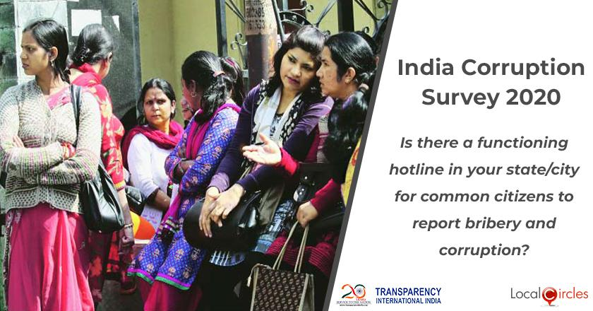 India Corruption Survey 2020: Is there a functioning hotline in your state/city for common citizens to report bribery and corruption?