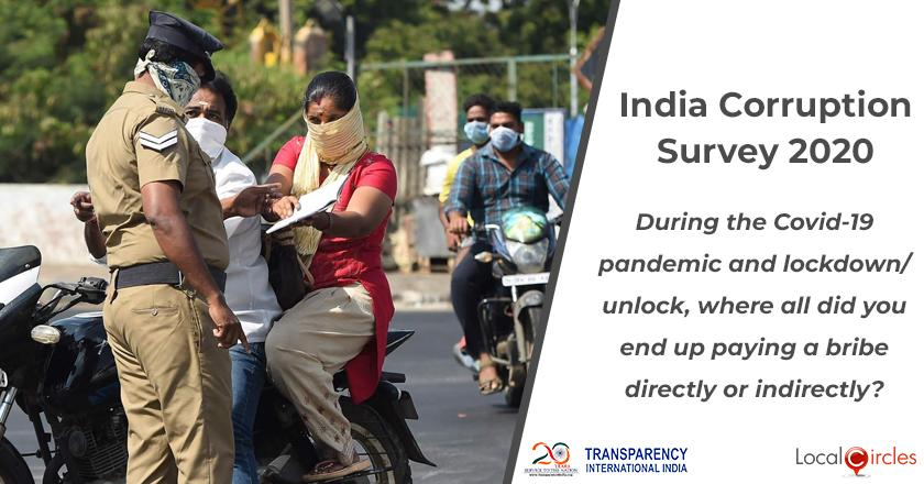 India Corruption Survey 2020: During the COVID-19 pandemic and lockdown/unlock, where all did you end up paying a bribe directly or indirectly?