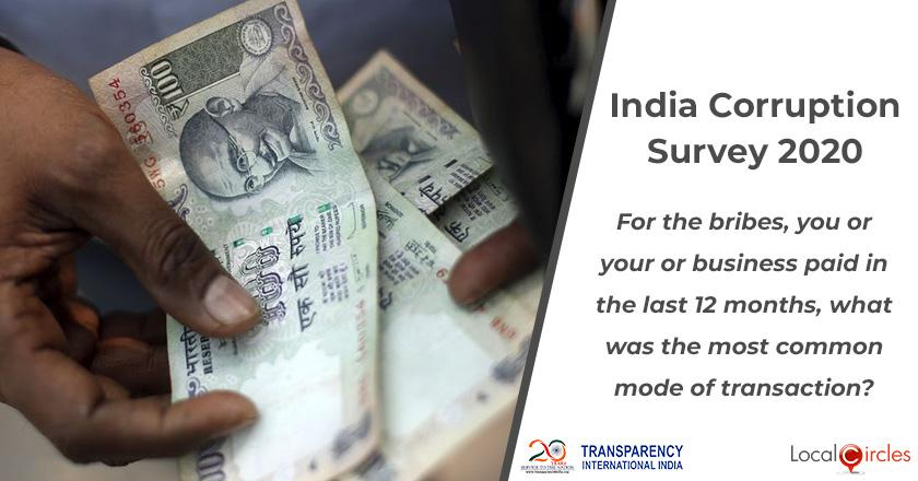 India Corruption Survey 2020: For the bribes, you or your business paid in the last 12 months, what was the most common mode of payment?
