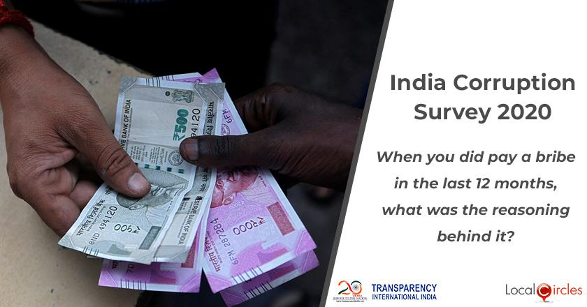 India Corruption Survey 2020: When you did pay a bribe in the last 12 months, what was the reasoning behind it?