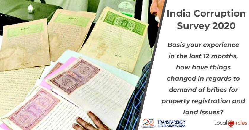 India Corruption Survey 2020: Basis your experience in the last 12 months, how have things changed in regards to demand of bribes for property registration and land issues?