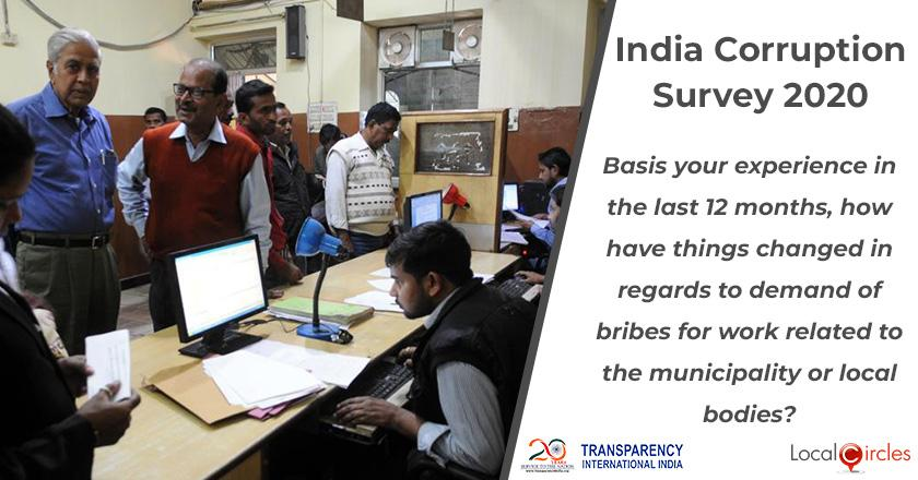 India Corruption Survey 2020: Basis your experience in the last 12 months, how have things changed in regards to demand of bribes for work related to the municipality or local bodies?