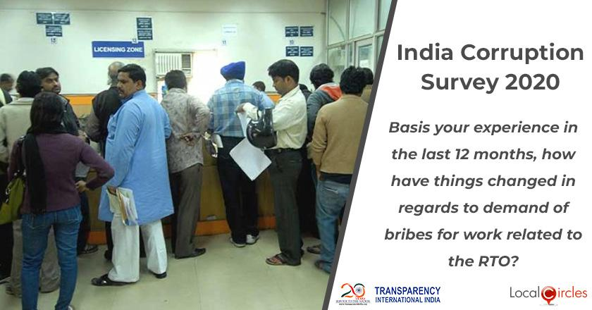 India Corruption Survey 2020: Basis your experience in the last 12 months, how have things changed in regards to demand of bribes for work related to the RTO?