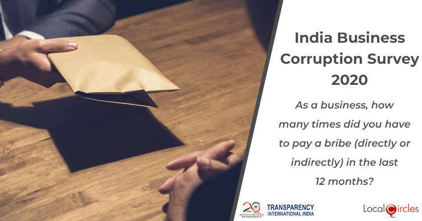 India Business Corruption Survey 2020: As a business, how many times did you have to pay a bribe (directly or indirectly) in the last 12 months?