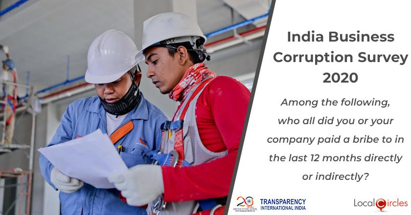 India Business Corruption Survey 2020: Among the following, who all did you or your company paid a bribe to in the last 12 months directly or indirectly?