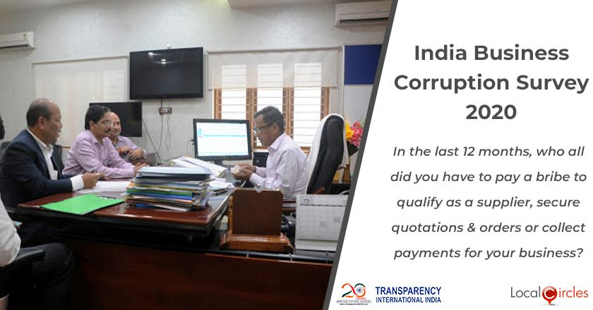 India Business Corruption Survey 2020: In the last 12 months, who all did you have to pay a bribe to qualify as a supplier, secure quotations & orders or collect payments for your business?