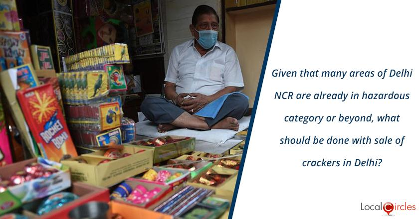 Given that many areas of Delhi NCR are already in hazardous air quality category or beyond, what should be done with sale of crackers in Delhi?