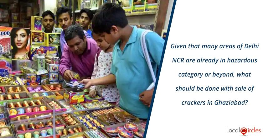 Given that many areas of Delhi NCR are already in hazardous air quality category or beyond, what should be done with sale of crackers in Ghaziabad?
