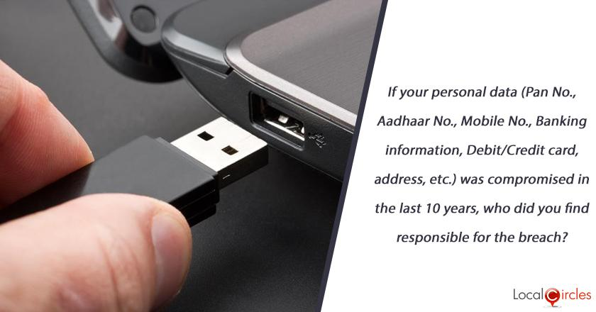 If your personal data (Pan No., Aadhaar No., Mobile No., Banking information, Debit/Credit card, address, etc.) was compromised in the last 10 years, who did you find responsible for the breach?