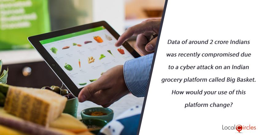 Data of around 2 crore Indians was recently compromised due to a cyber attack on an Indian grocery platform called Big Basket. How would your use of this platform change?