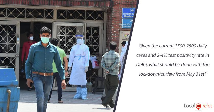 Given the current 1500-2500 daily cases and 2-4% test positivity rate in Delhi, what should be done with the lockdown/curfew from May 31st?