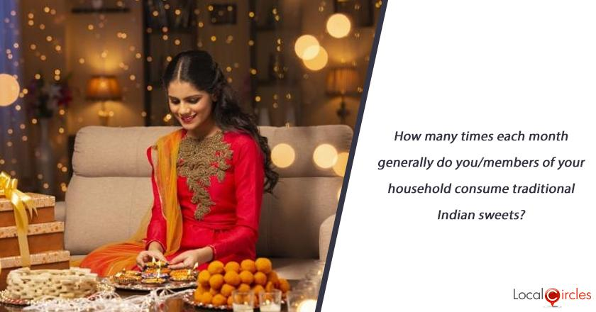 How many times each month generally do you/members of your household consume traditional Indian sweets?