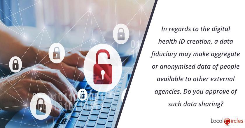 In regard to the digital health ID creation per the draft National Health Data Management policy, a data fiduciary (company, state, person, health information provider, etc.) may make aggregate or anonymised data of people available for purpose of research, promotion of diagnostic solutions, etc. to other external agencies. Do you approve of such data sharing?
