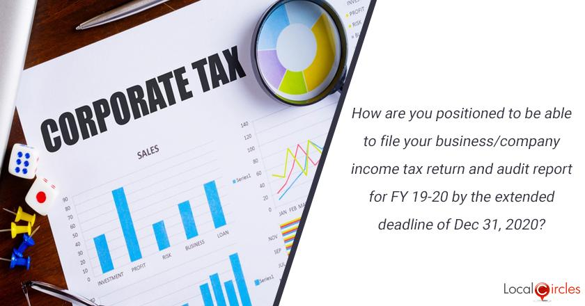 How are you positioned to be able to file your business/company income tax return and audit report for FY 19-20 by the extended deadline of Dec 31, 2020?