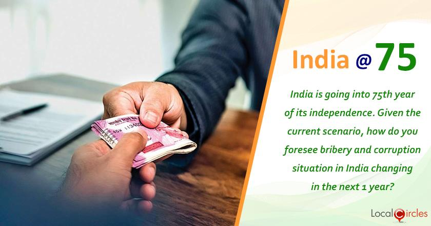 India at 75: India is going into 75th year of its independence. Given the current scenario, how do you foresee bribery and corruption situation in India changing in the next 1 year?