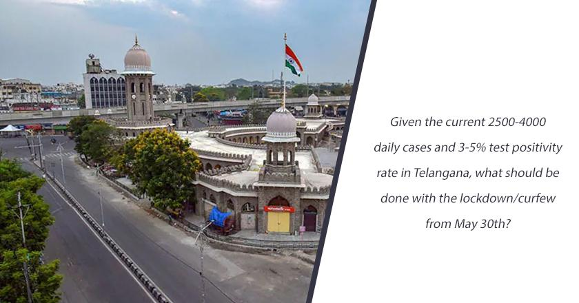 Given the current 2500-4000 daily cases and 3-5% test positivity rate in Telangana, what should be done with the lockdown/curfew from May 30th?