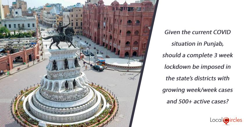 Given the current COVID situation in Punjab, should a complete 3 week lockdown be imposed in the state's districts with growing week/week cases and 500+ active cases? <br/> <br/>P.S. (Essential Services to function with lockdown)